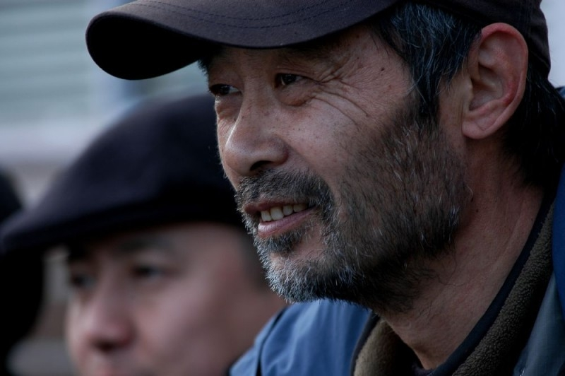 Tian Zhuangzhuang sul set del film The Go Master