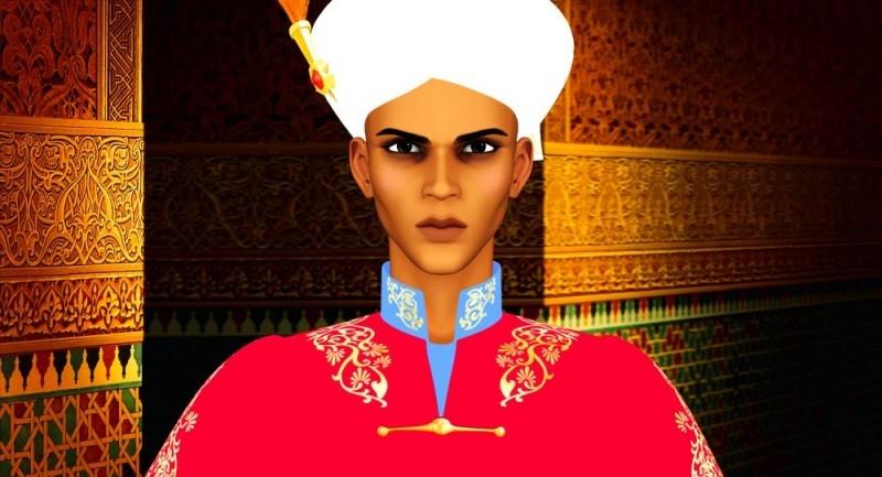 Primo piano del protagonista del film Azur e Asmar