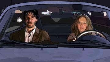Keanu Reeves con Winona Ryder in una scena del film A scanner darkly