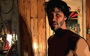 Keanu Reeves in versione cartoon in una scena del film A scanner darkly