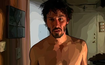 Keanu Reeves in una sequenzadel film A scanner darkly