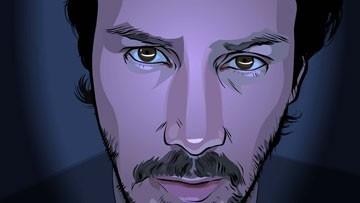 Un primo piano di Keanu Reeves in una scena del film A scanner darkly