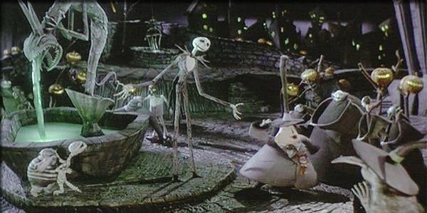 Una bellissima scena del film Nightmare Before Christmas