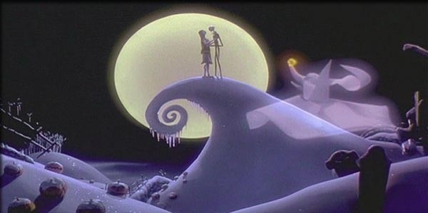 Una scena del film Nightmare Before Christmas