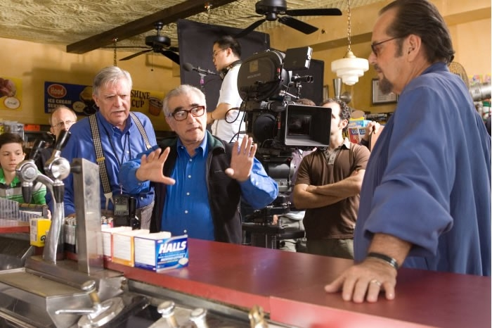 Jack Nicholson e Martin Scorsese sul set di The Departed