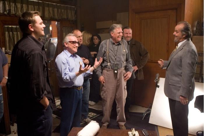 Jack Nicholson, Martin Scorsese e Leonardo DiCaprio sul set di The Departed