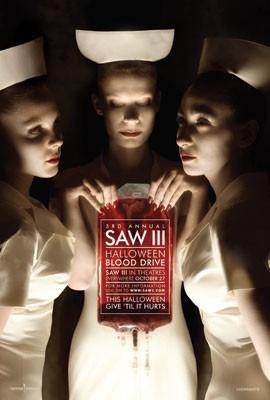 Il manifesto dell'iniziativa legata a Saw 3, ovvero la donazione del sangue che si tiene ad Halloween