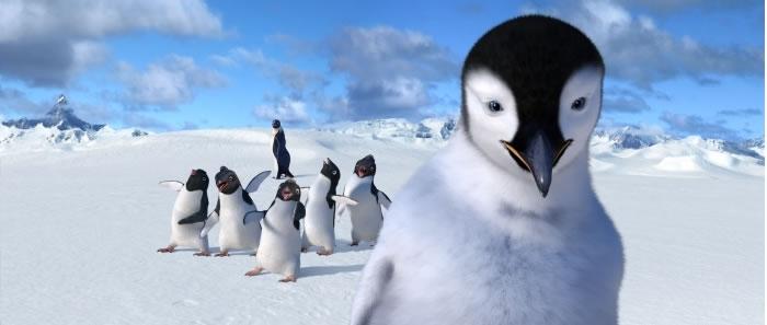 Una scena del film Happy Feet del 2006