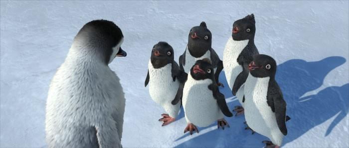 Una immagine del film d'animazione Happy Feet