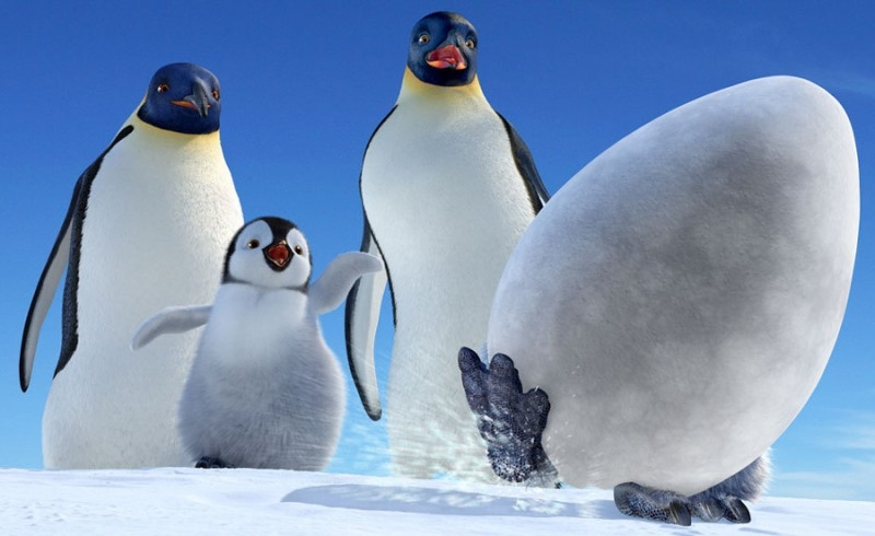 Una divertente scena del film Happy Feet