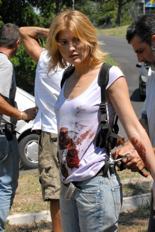 Chiara Conti sul set del film Morte di un confidente