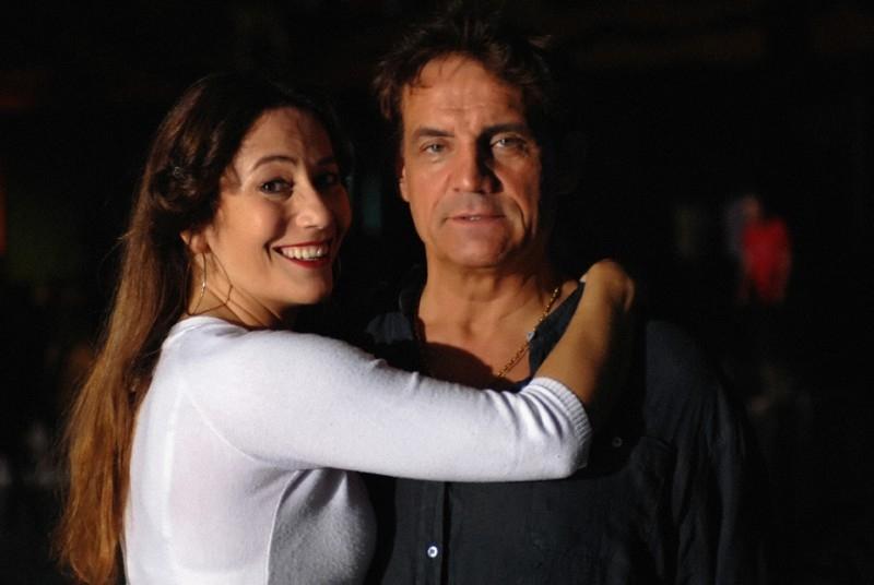 Francesco Salvi e Stefania Orsola Garello sul set del film L'ultima battuta