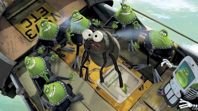 Una scena del film d'animazione Giù per il tubo (Flushed Away)