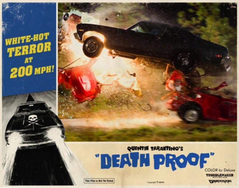 Una lobbycard promo realizzata per Death Proof, uno dei due episodi di Grind House