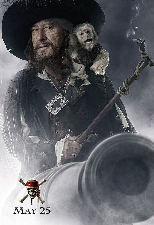 Geoffrey Rush in un'immagine promo di Pirates of the Caribbean: At Worlds End