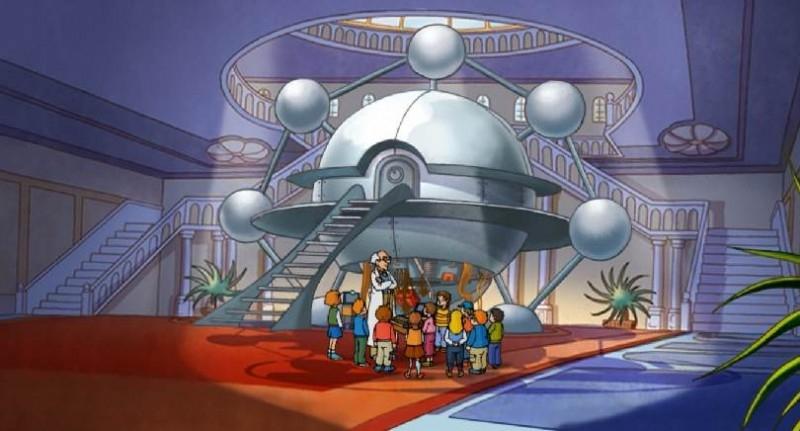 Ambientazione fantascientifica per una scena del film Felix e la macchina del tempo