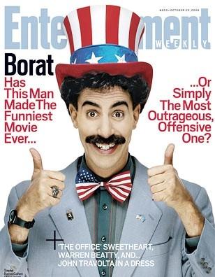 Sacha Baron Cohen nei panni di Borat sulla cover di Entertainment Weekly