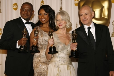 I quattro attori premiati con gli Oscar 2007: Forest Whitaker, Jennifer Hudson, Helen Mirren e Alan Arkin