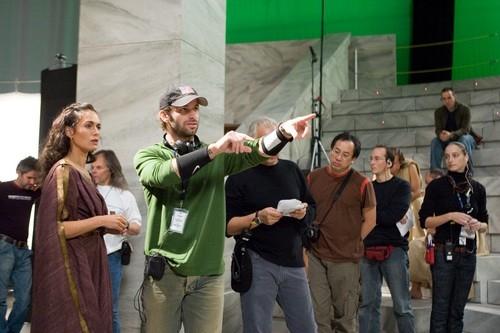 Lena Headey e Zack Snyder sul set di 300