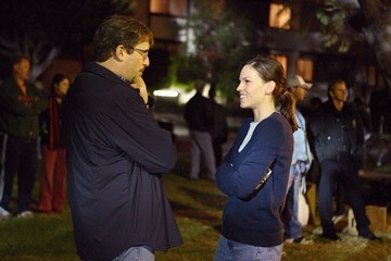 Hilary Swank e Richard LaGravenese sul set del film Freedom Writers