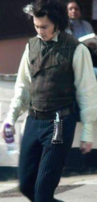 Johnny Depp sul set di Sweeney Todd