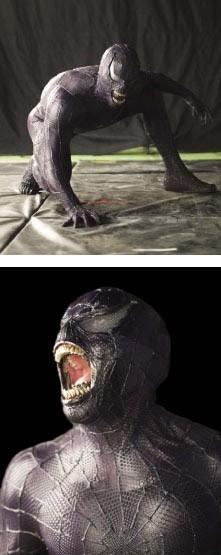 Dettagli del personaggio di Venom sul set di Spider-Man 3