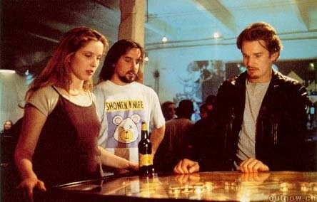 Richard Linklater, Julie Delpy ed Ethan Hawke sul set del film 'Prima dell'alba'