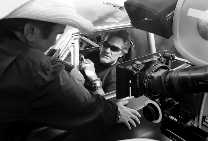 Kurt Russell sul set del film Death Proof, episodio del double feature Grind House