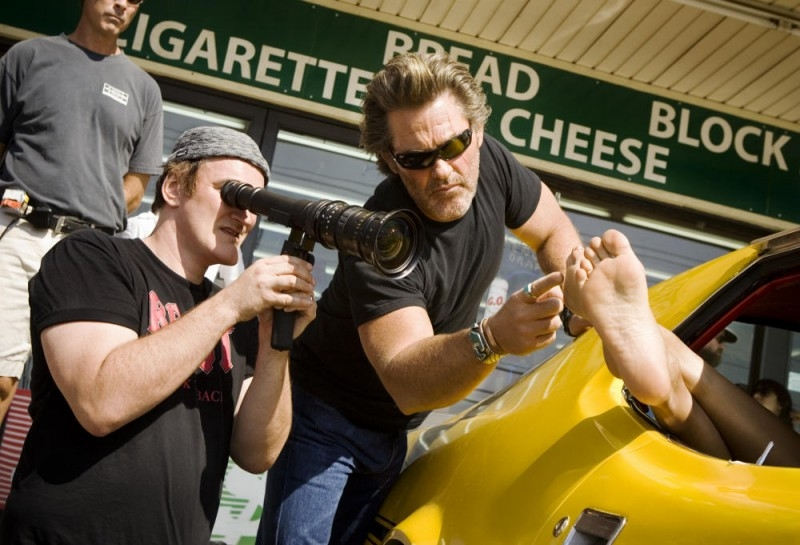 Quentin Tarantino e Kurt Russell sul set del film Death Proof, episodio del double feature Grind House