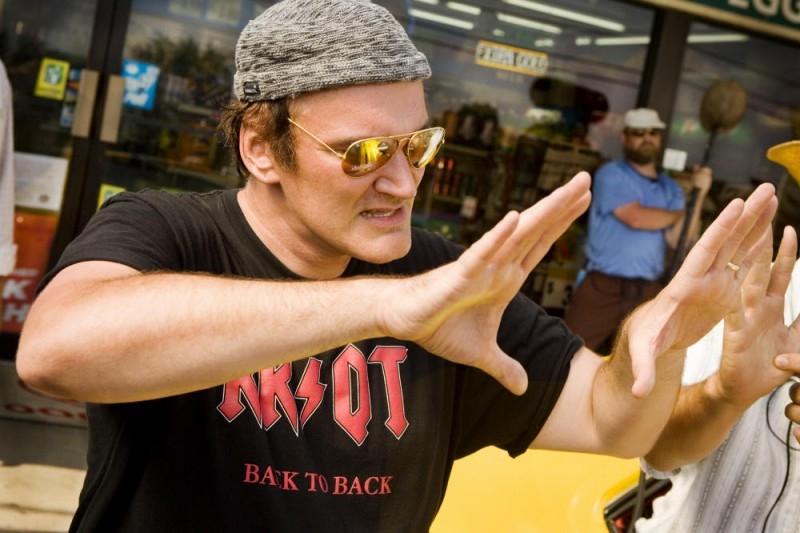 Il regista Quentin Tarantino sul set del film Death Proof, episodio del double feature Grind House