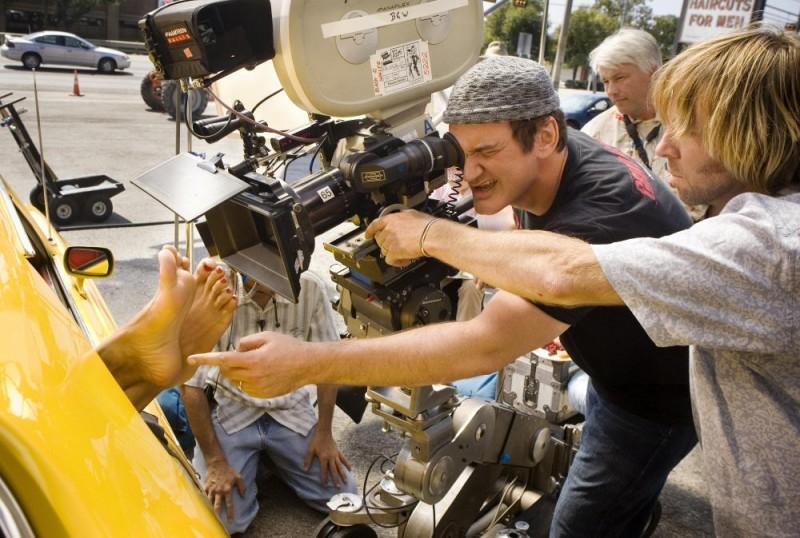 Quentin Tarantino sul set del film Death Proof, episodio del double feature Grind House