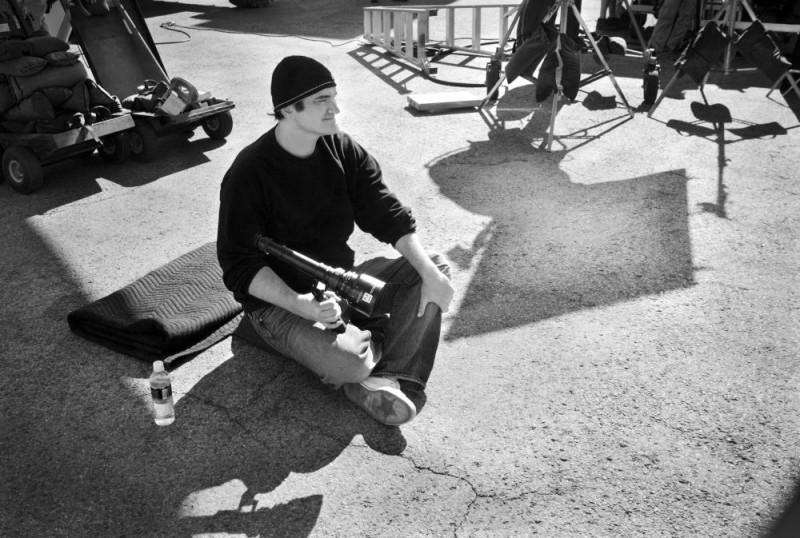Tarantino sul set del film Death Proof, episodio del double feature Grind House
