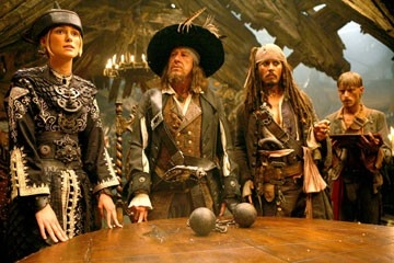 Keira Knightley, Geoffrey Rush, Johnny Depp e MacKenzie Crook  in una scena di Pirates of the Caribbean: At Worlds End