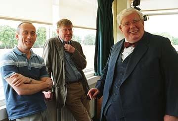 Nicholas Hytner,  Alan Bennett, e Richard Griffiths sul set del film The History Boys