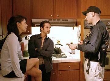 Eva Longoria e Freddy Rodriguez col regista David Ayer sul set del film Harsh Times - I giorni dell'odio
