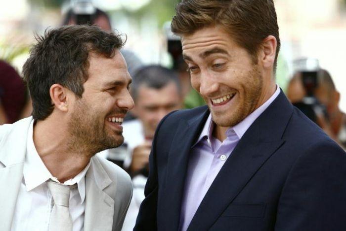 Cannes 2007: Mark Ruffalo scherza con Jake Gyllenhaal durante la presentazione di Zodiac