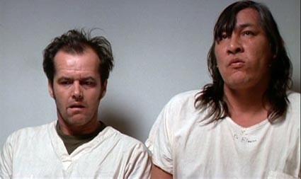 Jack Nicholson in una scena di Qualcuno volò sul nido del cuculo (1975)