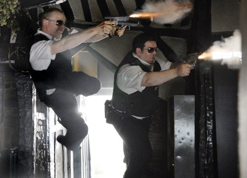 Nick Frost e Simon Pegg nel film Hot Fuzz