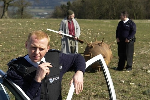L'attore Simon Pegg in Hot Fuzz
