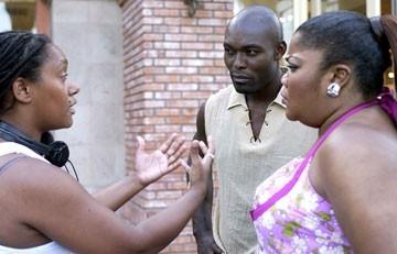 Nnegest Likké, Jimmy Jean-Louis e Monique Imes sul set di Phat Girlz