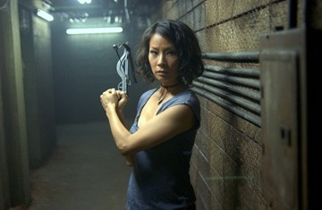Lucy Liu in una sequenza del film Rise: Blood Hunter