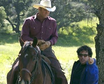 Michael Mayer e Tim McGraw  sul set del film Flicka