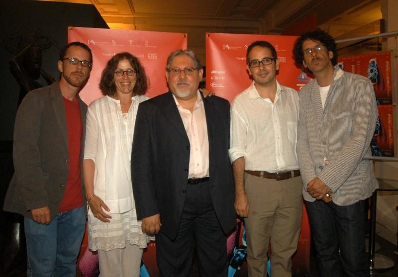 Joel ed Ehtan Coen e Frances McDormand al Napoli Film Festival 2007