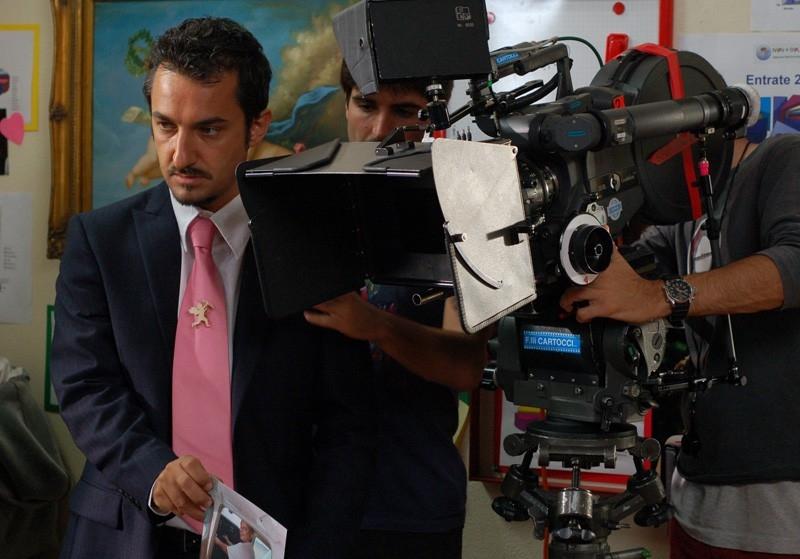 Nicola Savino sul set del film Agente Matrimoniale
