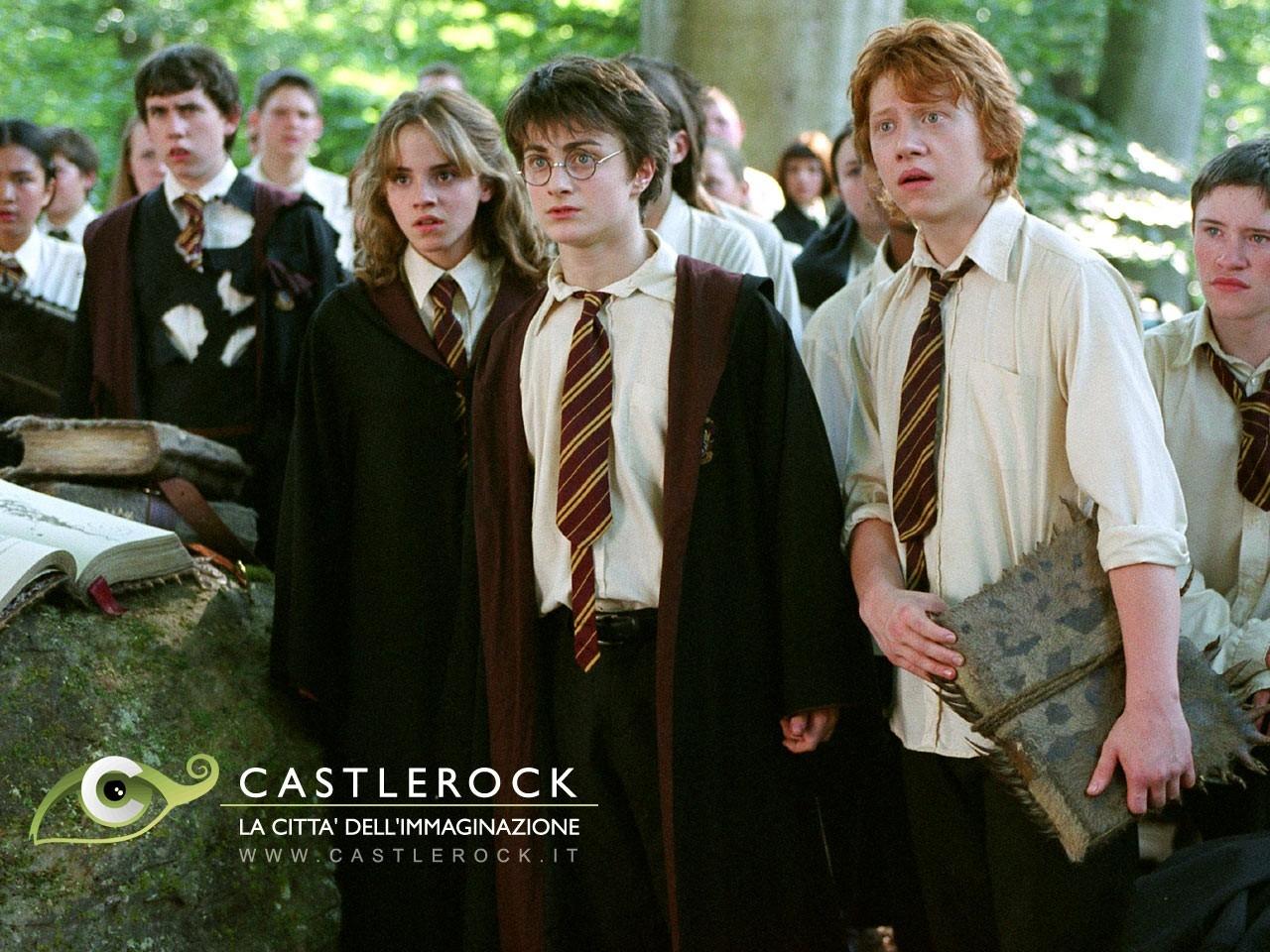 Wallpaper del film Harry Potter e il prigioniero di Azkaban con i tre protagonisti della saga di J.K. Rowling