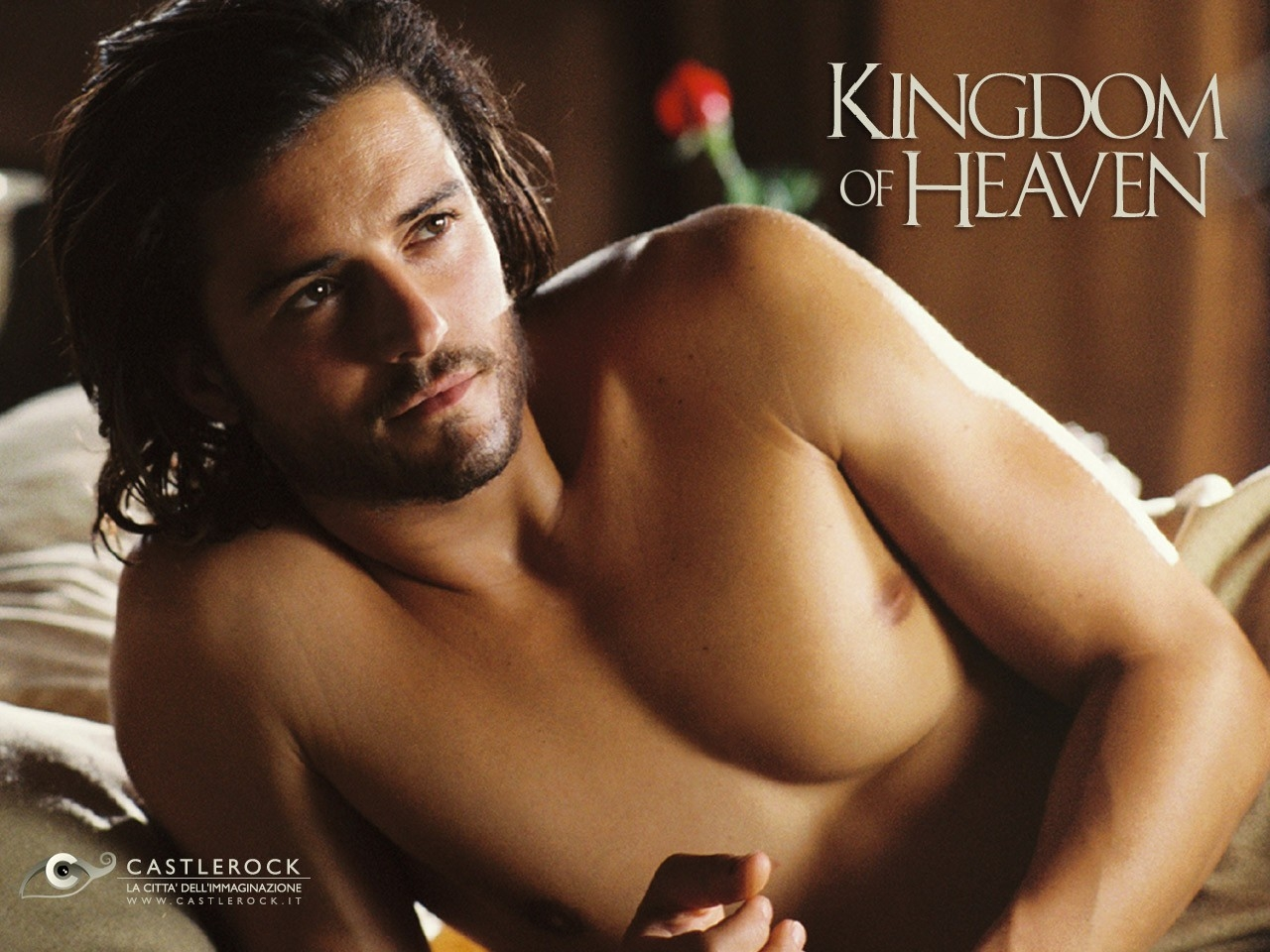 Wallpaper del film Le crociate con Orlando Bloom a torso nudo