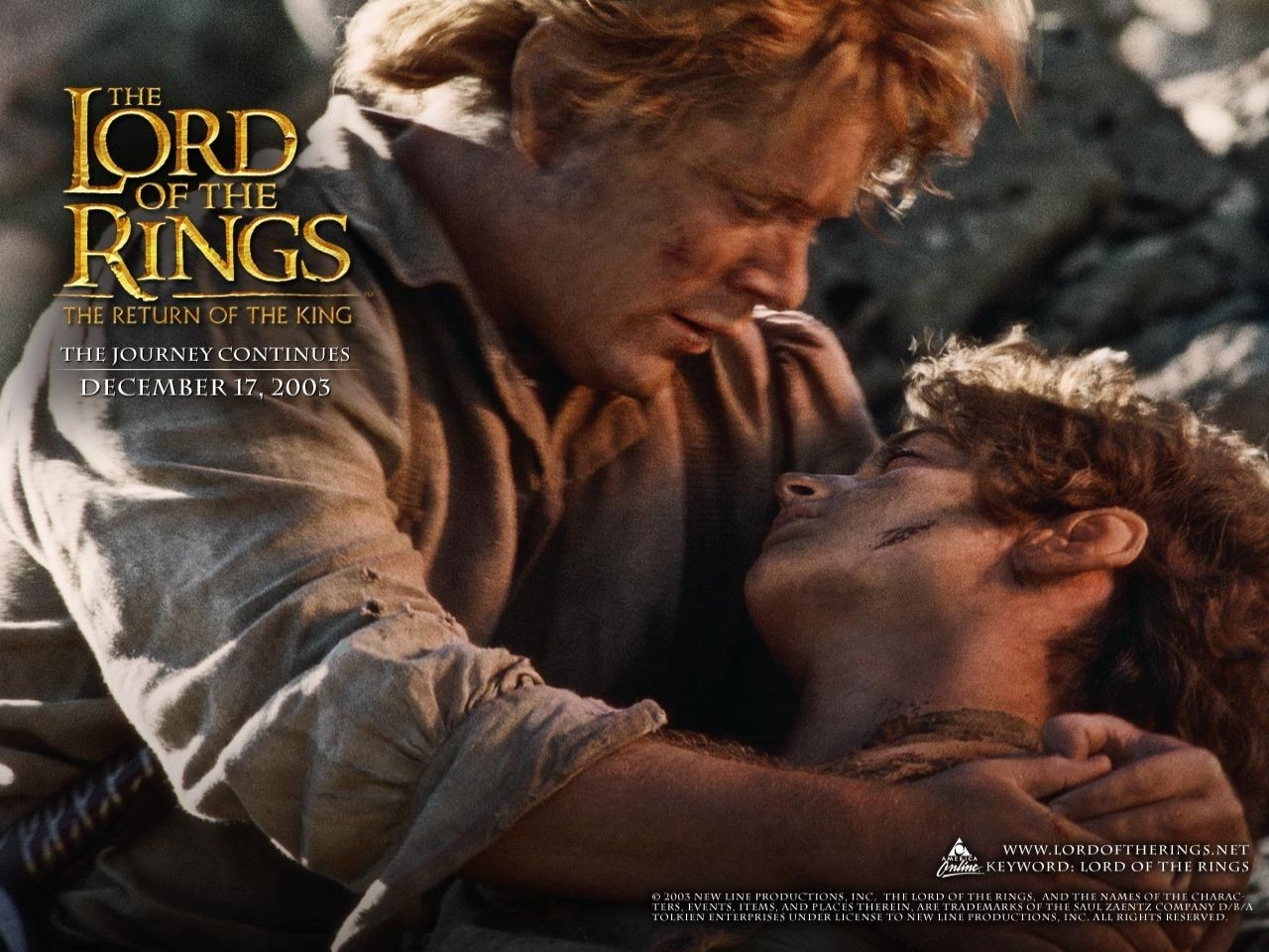 Wallpaper del film Il signore degli anelli - Il ritorno del re con i due hobbit