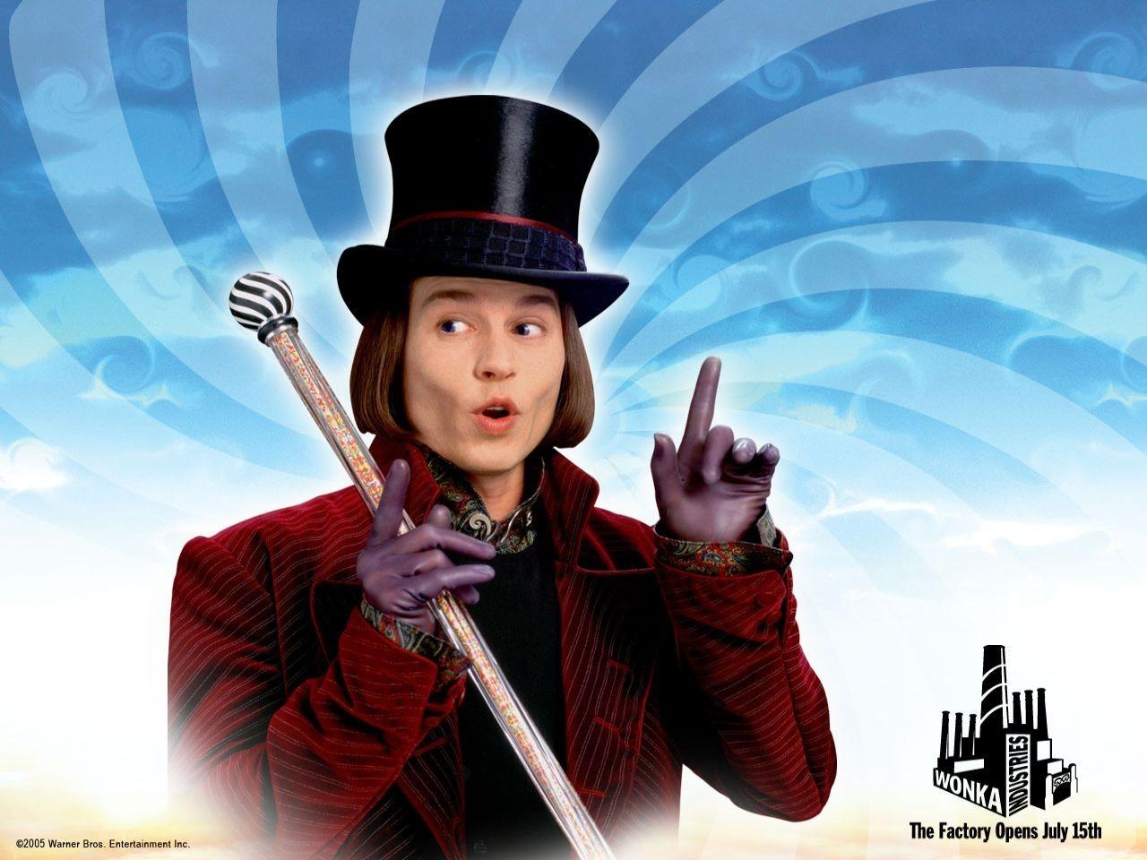 Wallpaper di Johnny Depp nel film La fabbrica di cioccolato