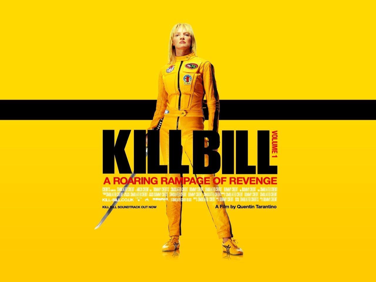 Wallpaper di Uma Thurman con la tuta gialla di Kill Bill