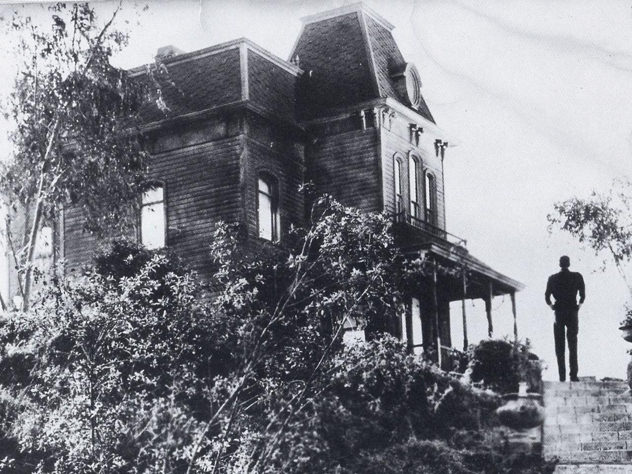 Wallpaper del film Psycho con la casa di Norman Bates